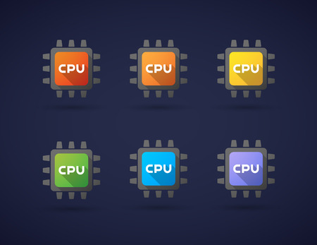 electronic components: Illustration of a colored CPU icon set Illustration