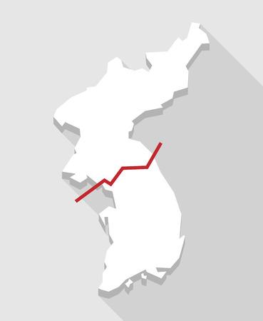 Illustration of a long shadow Korea map
