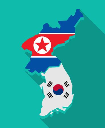 Illustratie van een lange schaduw Korea kaart met vlaggen