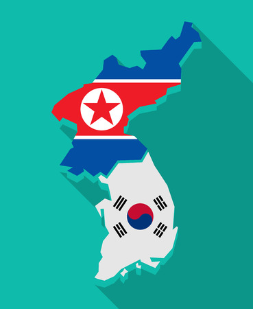 Illustration of a long shadow Korea map with flags