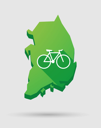 Illustration of a South Korea map icon with a bicycle Illustration
