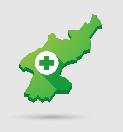 Illustration of a North Korea map icon with a pharmacy sign