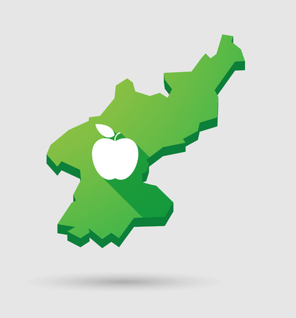 pyongyang: Illustration of a North Korea map icon with a fruit
