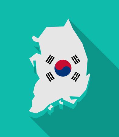 Illustration of a long shadow South Korea map with the national flag