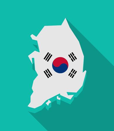 Illustrazione di una lunga ombra Corea del Sud mappa con la bandiera nazionale Archivio Fotografico - 36643979