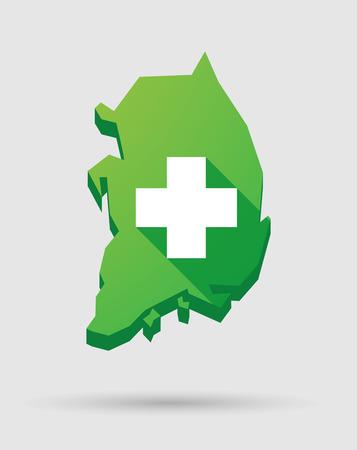 pharmacy sign: Illustration of a South Korea map icon with a pharmacy sign Illustration