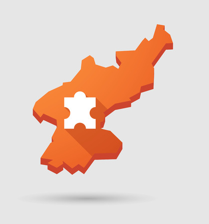pyongyang: Illustration of a North   Korea map with a puzzle piece
