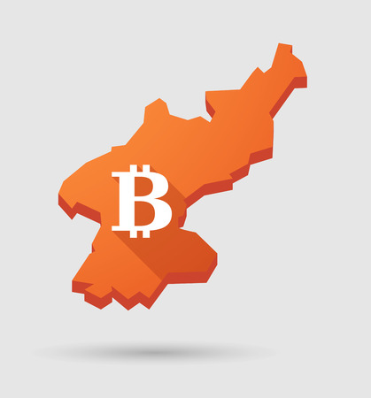 p2p: Illustration of a North   Korea map with a bitcoin sign Illustration
