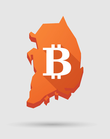 p2p: Illustration of a  Korea map with a bitcoin sign