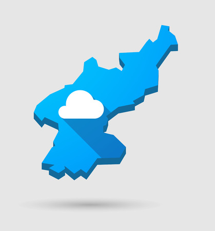 north korea: Illustration of a blue North Korea map with a cloud