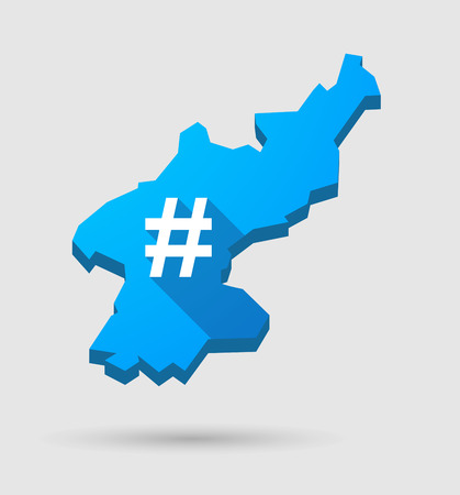 hash: Illustration of a blue North Korea map with a hash tag sign