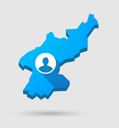 pyongyang: Illustration of a blue North Korea map with a male avatar Illustration