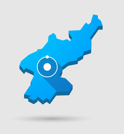 pyongyang: Illustration of a blue North Korea map with an atom