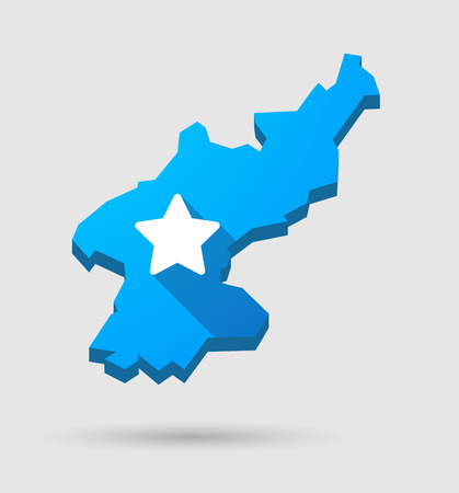 north star: Illustration of a blue North Korea map with a star Illustration