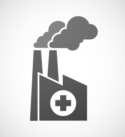 pharmacy sign: Illustration of an industrial factory icon with a pharmacy sign Illustration