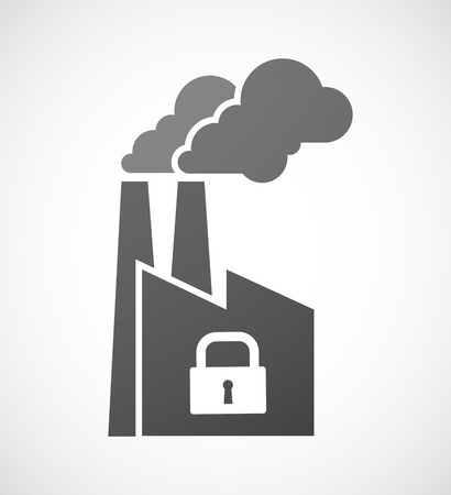 Illustration of an industrial factory icon with a lock pad Vector