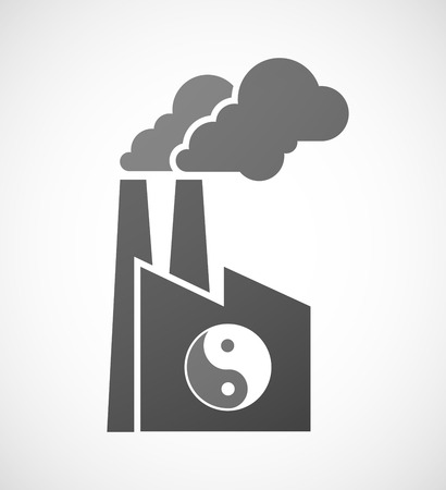 ying: Illustration of an industrial factory icon with a ying yang