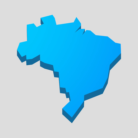 brazil symbol: Illustration of a blue isolated  Brazil map