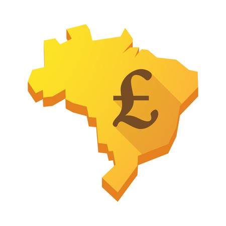 Illustration of a yellow Brazil map with a pound sign Vector