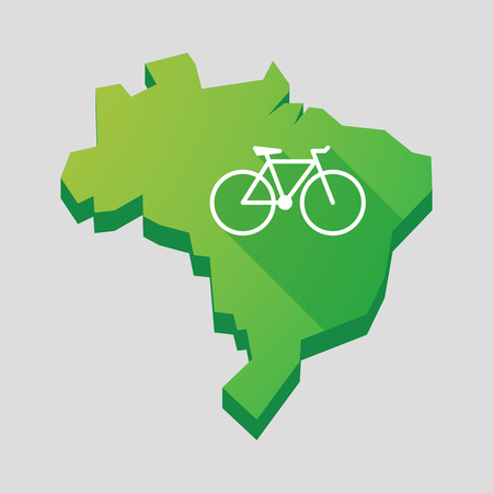 Illustration of a green  Brazil map with a bicycle Vector