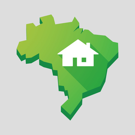 Illustration of a green  Brazil map with a house Vector