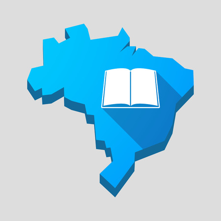 read magazine: Illustration of a blue Brazil map with a book