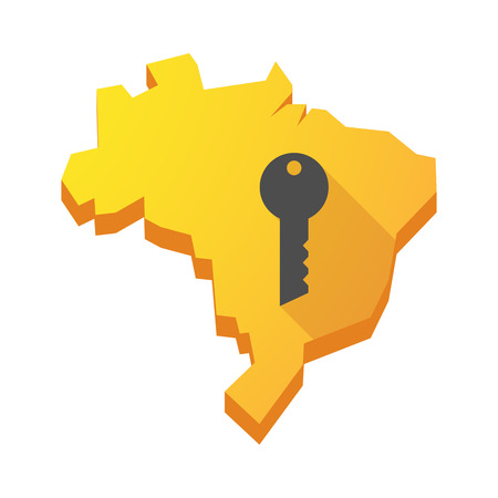 green door: Illustration of a yellow Brazil map with a key