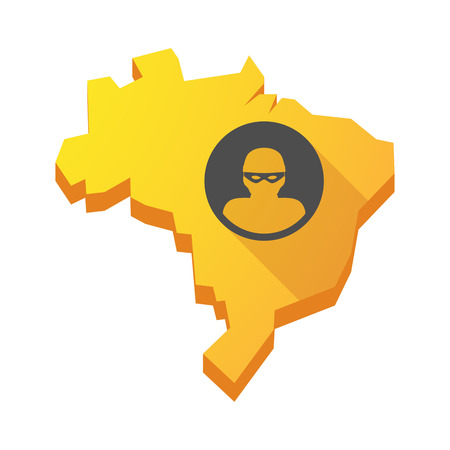 law of brazil: Illustration of a yellow Brazil map with a thief