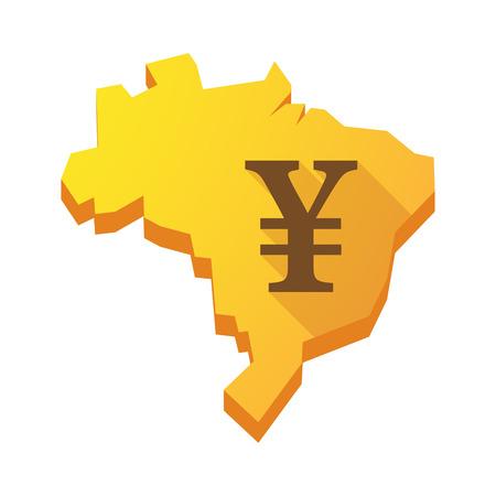 yen sign: Ilustraci�n de un mapa de Brasil de color amarillo con un signo de yenes
