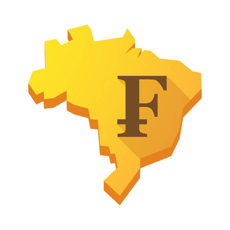 Illustration of a yellow Brazil map with a swiss franc sign Vector