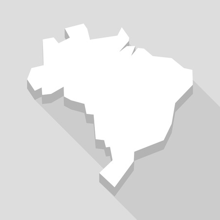 brazil country: Illustration of a long shadow Brazil map