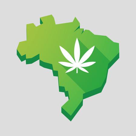 ganja: Illustration of a green  Brazil map with a marijuana leaf