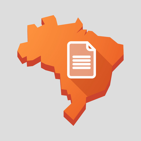 Illustration of an orange  Brazil map with a document