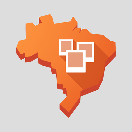 photographs: Illustration of an orange  Brazil map with a group of photographs