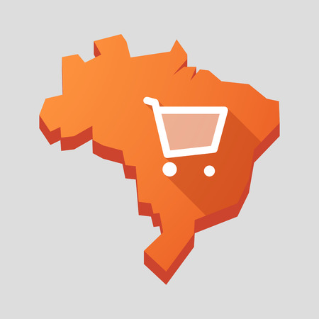 brazil country: Illustration of an orange  Brazil map with a shopping cart