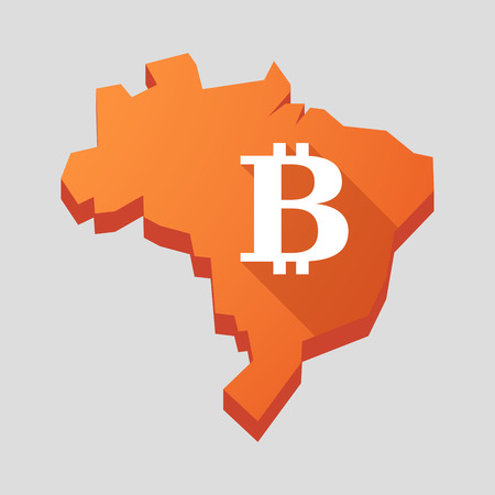 Illustration of an orange  Brazil map with a bitcoin sign Vector
