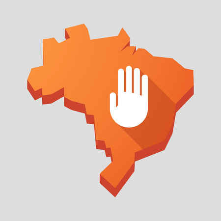 hand in hand: Illustration of an orange  Brazil map with a hand