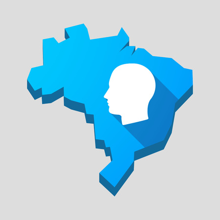 Illustration of a blue Brazil map with a male head Vector