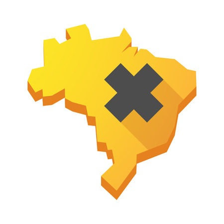 irritating: Illustration of a yellow Brazil map with an irritating substance sign Illustration