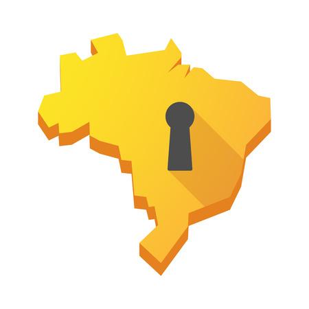 key hole: Illustration of a yellow Brazil map with a key hole