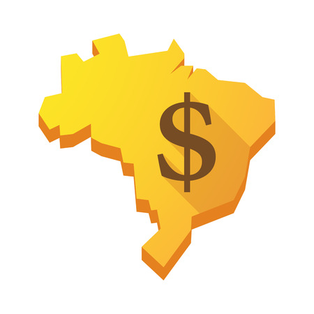 Illustration of a yellow Brazil map with a dollar sign Vector