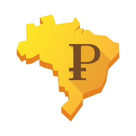 Illustration of a yellow Brazil map with a ruble sign Vector