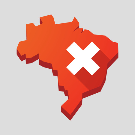 x country: Illustration of a red Brazil map with an x sign