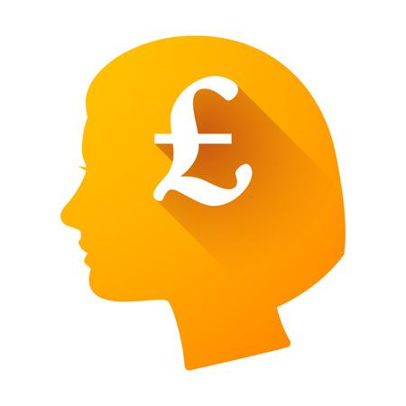 cabeza femenina: Ilustraci�n de un icono de la cabeza femenina con una libra