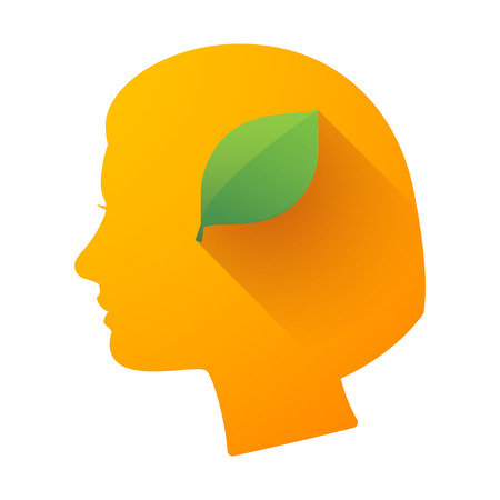 cabeza femenina: Ilustraci�n de un icono de la cabeza femenina con una hoja