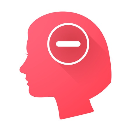Illustration of a female head icon with a subtraction sign