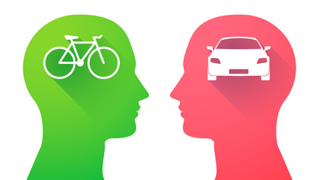 Illustration of an isolated head set with a bicycle and a car