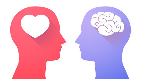 people arguing: Illustration of an isolated head set with a brain and a heart