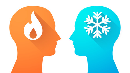opposing: Illustration of an isolated head set with a flame and a snow flake