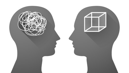 opposing: Illustration of an isolated head set with a doodle and a cube Illustration